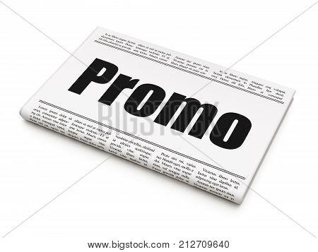 Advertising concept: newspaper headline Promo on White background, 3D rendering