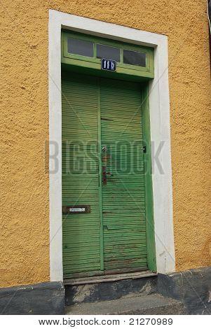 Front door green yellow
