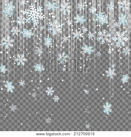 Frosty winter snowflakes light beam lens flare effect snowfall. Isolated falling snowflakes, blindening light beams with sparkles. Winter holidays design illustration.