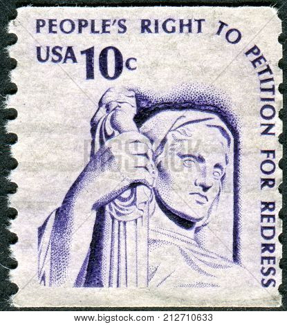 USA - CIRCA 1977: A postage stamp printed in USA shows Contemplation of Justice by James Earle Fraser circa 1977