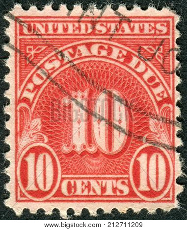 USA - CIRCA 1930: A postage stamp printed in USA shows the number 10 the price value circa 1930