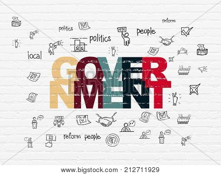 Politics concept: Painted multicolor text Government on White Brick wall background with  Hand Drawn Politics Icons