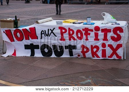 TOULOUSE FRANCE - OCTOBER 292017: The activists opposing the reopening of the Salau tungsten mine in Ariège.Ecriture french:No profit at all costs.
