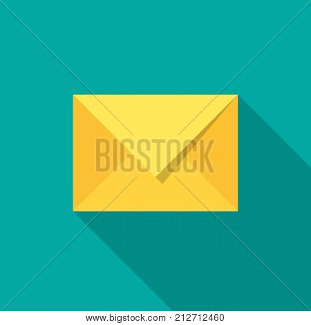 Mail icon with long shadow. Flat design style. Mail silhouette. Simple icon. Modern flat icon in stylish colors. Web site page and mobile app design vector element.