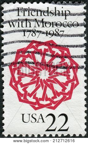 USA - CIRCA 1987: A postage stamp printed in the USA dedicated to the US-Morocco Diplomatic Relations Bicentennial shows Arabesque Dar Batha Palace Fez circa 1987