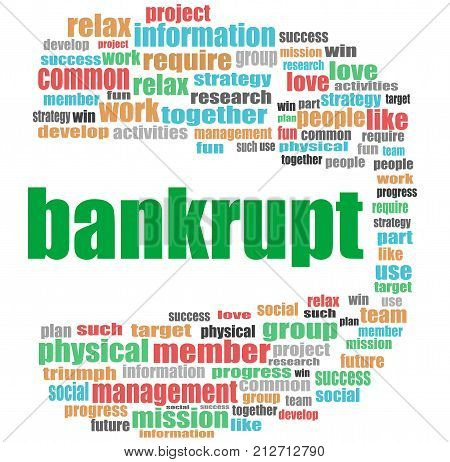 Bankrupt Word. Business Concept . Word Cloud Collage