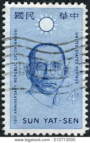 USA - CIRCA 1961: Postage stamp printed in the USA dedicated to the 50th anniversary of the Republic of China shows a portrait of Chinese politician and revolutionist Sun Yat-sen circa 1961
