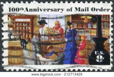 USA - CIRCA 1972: A postage stamp printed in the USA centenary of mail order business originated by Aaron Montgomery Ward Chicago shows a Rural Post Office Store circa 1972
