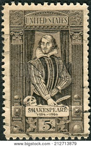 USA - CIRCA 1964: Postage stamp printed in the USA dedicated to the 400th anniversary of the birth of William Shakespeare shows writer playwright and poet William Shakespeare circa 1964