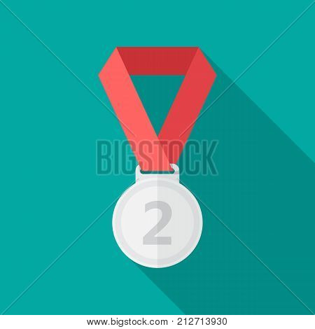 Silver medal icon with long shadow. Flat design style. Silver medal simple silhouette. Modern minimalist icon in stylish colors. Web site page and mobile app design vector element.