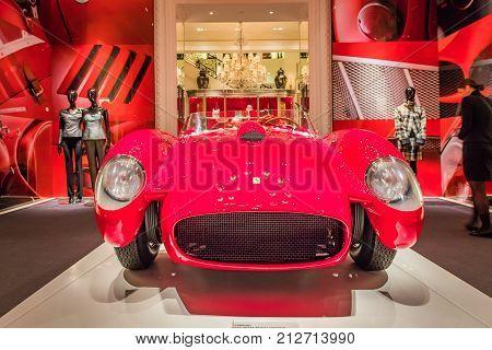 New York City, Madison Avenue - November 1, 2017:  Classic Red Ferrari on display at Ralph Lauren store