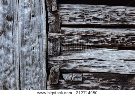 Background Of Heavily Weathered Hand Chiseled Beams And Notched Joints