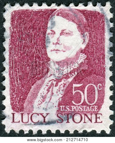 USA - CIRCA 1968: A postage stamp printed in USA shows a portrait of a prominent American orator abolitionist and suffragist Lucy Stone by John W.Jarvis circa 1968