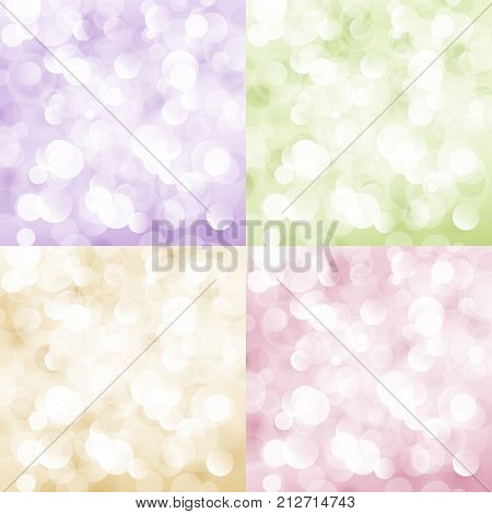 Set of Soft Bright Abstract Bokeh Background, Soft Glow of the Sun , Defocused Lights, Vector Illustration