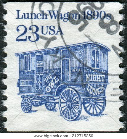 USA - CIRCA 1991: Postage stamp printed in the USA shows Lunch Wagon of 1890s circa 1991