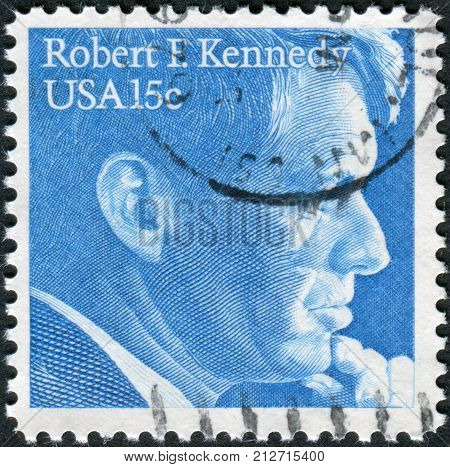 USA - CIRCA 1979: Postage stamp printed in the USA shows a portrait of a politician and senator Robert Francis Kennedy circa 1979