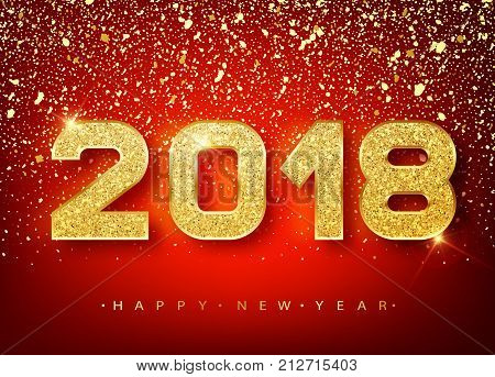 2018 Happy New Year. Gold Numbers Design Of Greeting Card Of Falling Shiny Confetti. Gold Shining Pa