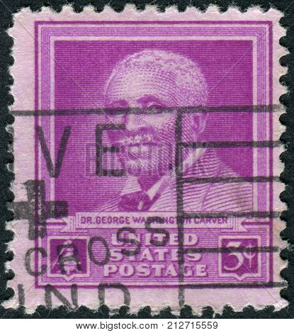 USA - CIRCA 1948: Postage stamp printed in the USA dedicated to the 5th anniversary of the death of Dr. George Washington Carver scientist circa 1948