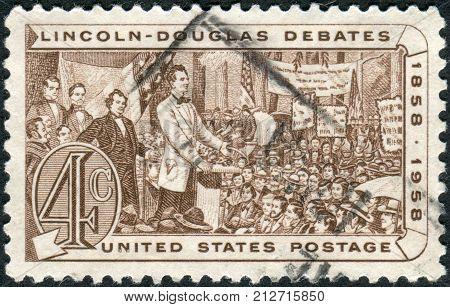 Usa - Circa 1958: Postage Stamp Printed In The Usa, Shows Abraham Lincoln And Stephen A. Douglas Deb