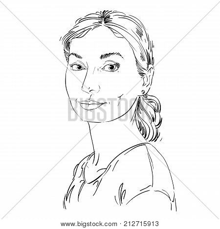 Vector portrait of attractive dreamy woman illustration of peaceful and calm girl. Person emotional face expression.