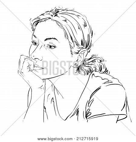 Artistic hand-drawn vector image black and white portrait of delicate melancholic peaceful girl. Emotions theme illustration. Cute girl thinking about something.