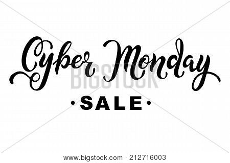 Cyber Monday sale. Hand drawn lettering for banner/logo/badge/web/poster. Discount time. Vector illustration for your business artwork. Isolated on white background.