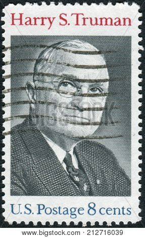 USA - CIRCA 1973: Postage stamp printed in the USA shows a portrait 33rd President of the United States Harry S. Truman circa 1973