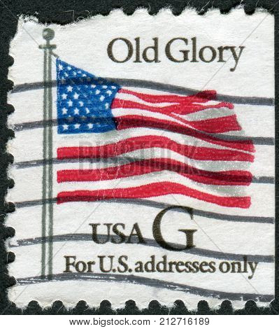 USA - CIRCA 1994: Postage stamp printed in the USA (For US adresses only) shows the U.S. national flag Old Glory circa 1994
