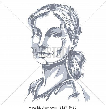 Portrait of delicate good-looking still woman black and white vector drawing of peaceful and tender girl. Emotional expressions idea image pretty model posing.