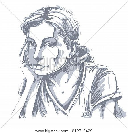 Graphic vector hand-drawn illustration of white skin sorrowful attractive lady with stylish hairdo. People face expressions. Sad and pensive young girl creative portrait.
