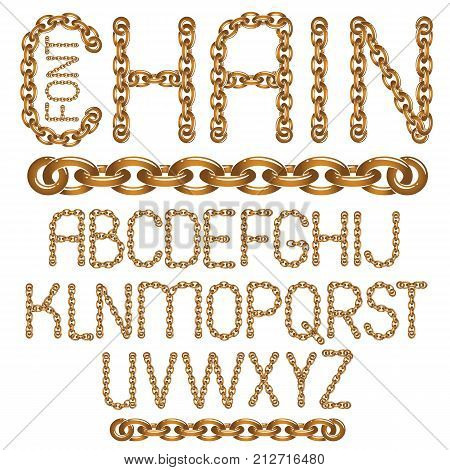 Vector English alphabet letters collection. Upper case decorative font created using metal connected chain link.