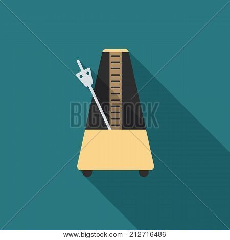 Metronome icon with long shadow. Flat design style. Metronome simple silhouette. Modern minimalist icon in stylish colors. Web site page and mobile app design vector element.