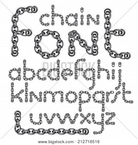 Vector English alphabet letters collection. Lower case creative font made with steel chain link joined link.