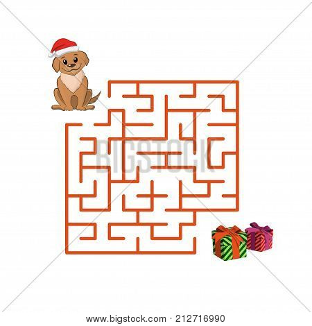 Christmas childrens game puppy in the maze. Help dog to get out of the labyrinth. Vector illustration.