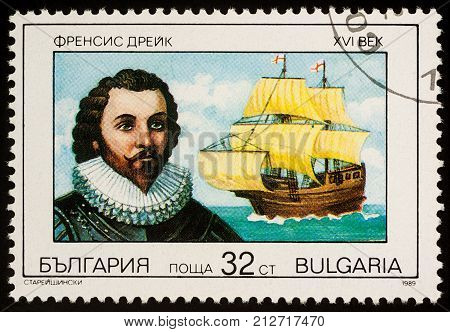 Moscow Russia - November 07 2017: A stamp printed in Bulgaria shows Sir Francis Drake - English navigator series