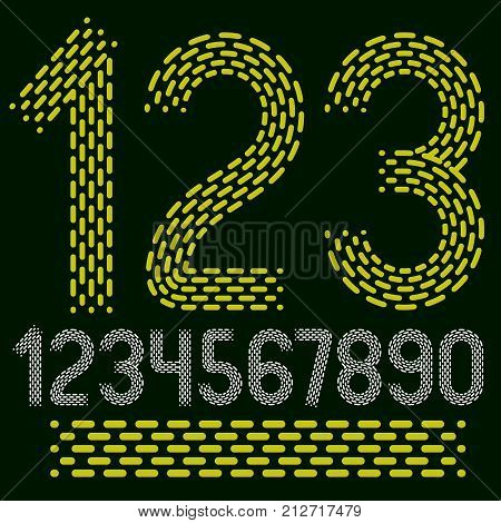 Vector numbers modern numerals set. Rounded bold retro numeration from 0 to 9 can be used for logo creation. Made using rhythmic strokes and dashed lines.