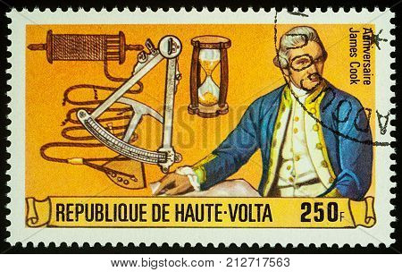 Moscow Russia - November 08 2017: A stamp printed in Upper Volta shows Captain James Cook series