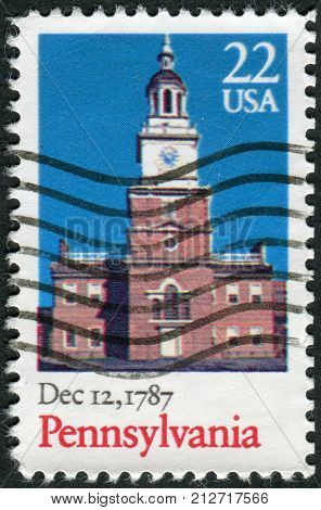 USA - CIRCA 1987: Postage stamp printed in the USA dedicated to the 200th anniversary of the ratification of the Constitution of the United States Pennsylvania shows Independence Hall circa 1987