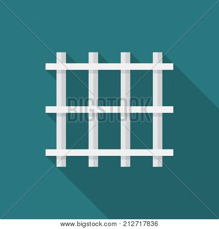 Prison bars icon with long shadow. Flat design style. Prison grid simple silhouette. Modern minimalist icon in stylish colors. Web site page and mobile app design vector element.