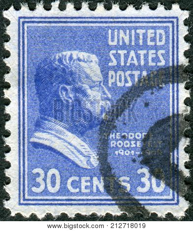 USA - CIRCA 1938: Postage stamp printed in the USA a portrait of 26th President of the United States Theodore