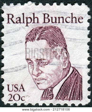 USA - CIRCA 1982: Postage stamp printed in the USA shows an American political scientist academic and diplomat Ralph J. Bunche circa 1982