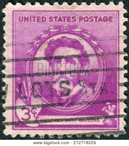USA - CIRCA 1940: Postage stamp printed in the USA shows a portrait of the Irish-born American sculptor of the Beaux-Arts Augustus Saint-Gaudens circa 1940