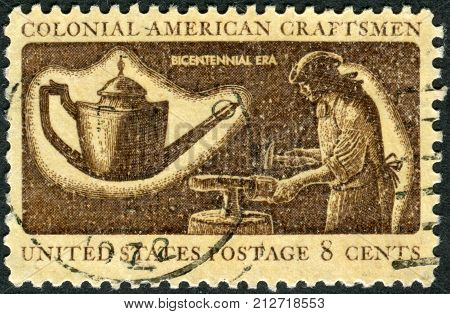USA - CIRCA 1972: Postage stamp printed in the USA dedicated to the American Bicentennial Colonial American Craftsmen shows a Silversmith circa 1972