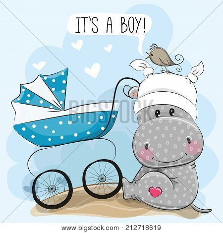 Greeting card its a boy with baby carriage and Hippo