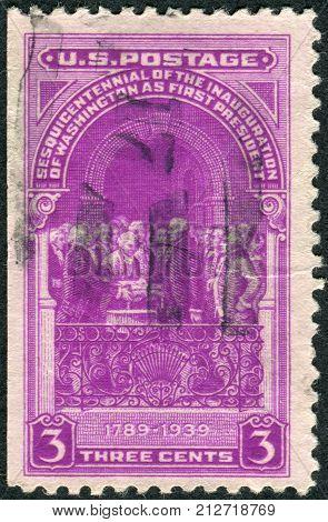Usa - Circa 1939: Postage Stamp Printed In The Usa, Washington Inauguration Issue, Shows George Wash