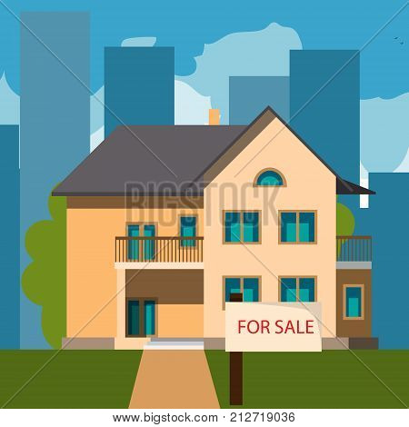 Home for sales. Flat style vector illustration