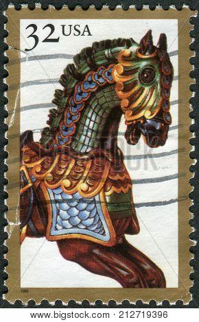Usa - Circa 1995: Postage Stamp Printed In Usa, American Folk Art Series, Shows Carousel Horses, Cir