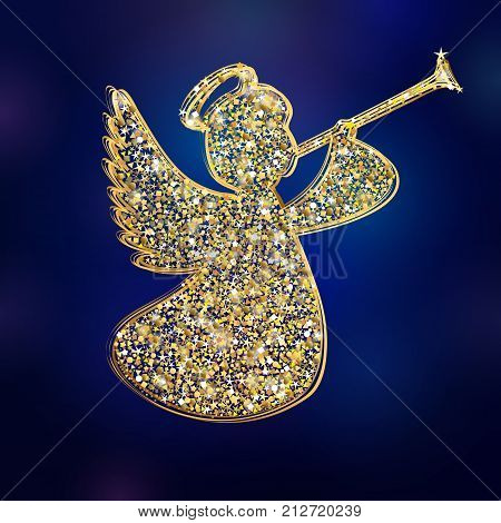 Angel with simple wings on a navy blue background. Golden isolated angel with trumpet starry herald shiny silhouette. Merry Christmas vector design
