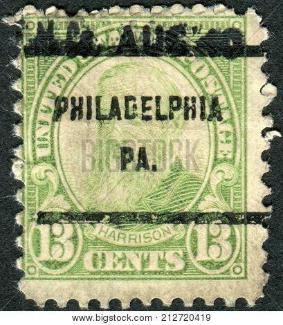 USA - CIRCA 1931: Postage stamps printed in USA (precancel Philadelphia PA) shows a portrait 23rd President of the United States Benjamin Harrison circa 1931