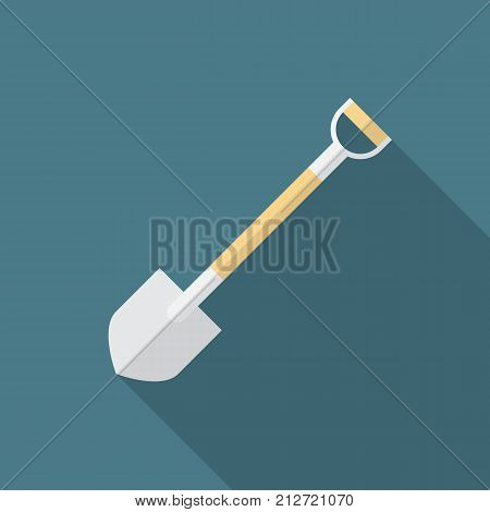 Shovel icon with long shadow. Flat design style. Shovel simple silhouette. Modern minimalist icon in stylish colors. Web site page and mobile app design vector element.